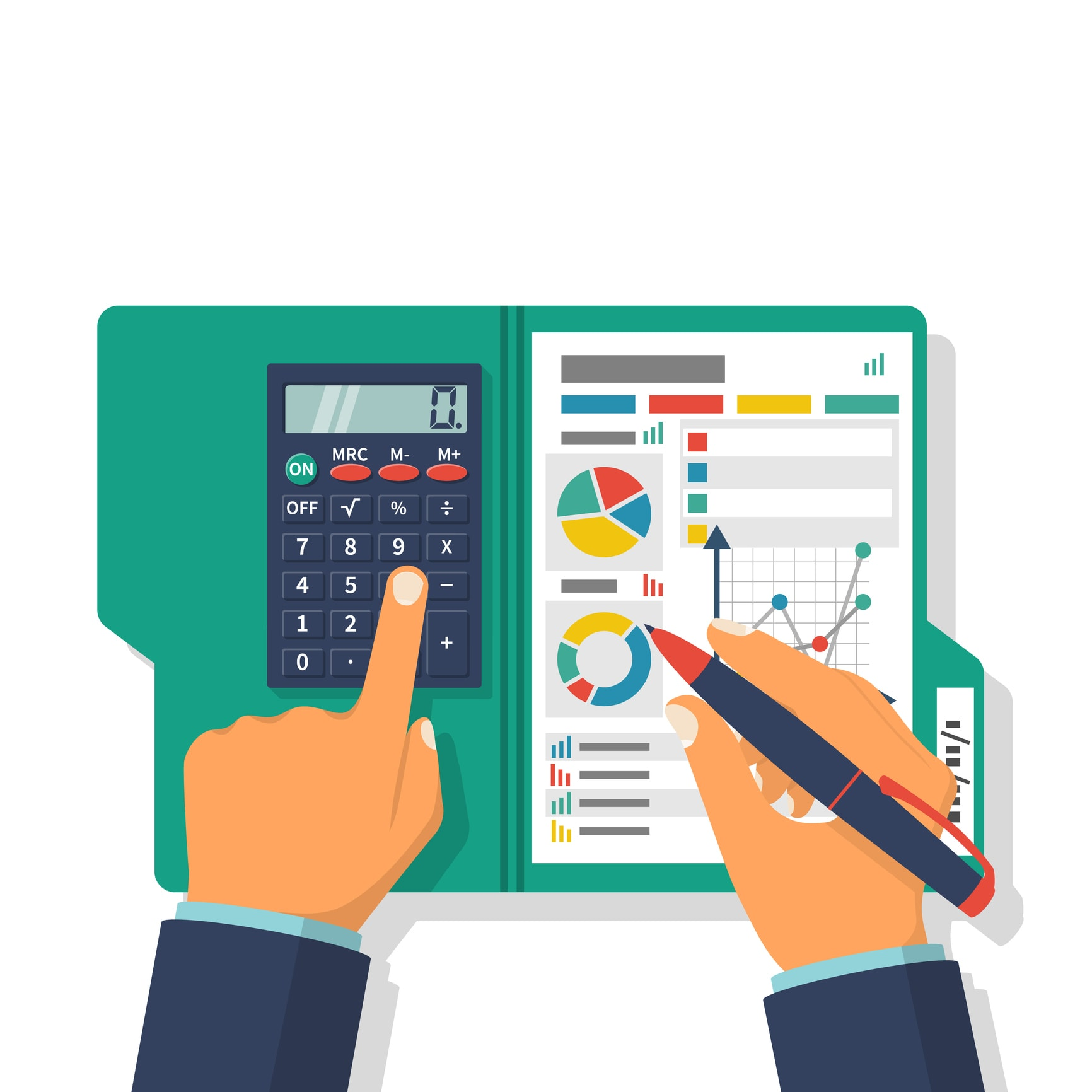 Financial accounting concept. Organization process, analytics, research, planning, report, market analysis. Flat style vector. Businessman holding pen, clipboard financial tables, graphs.