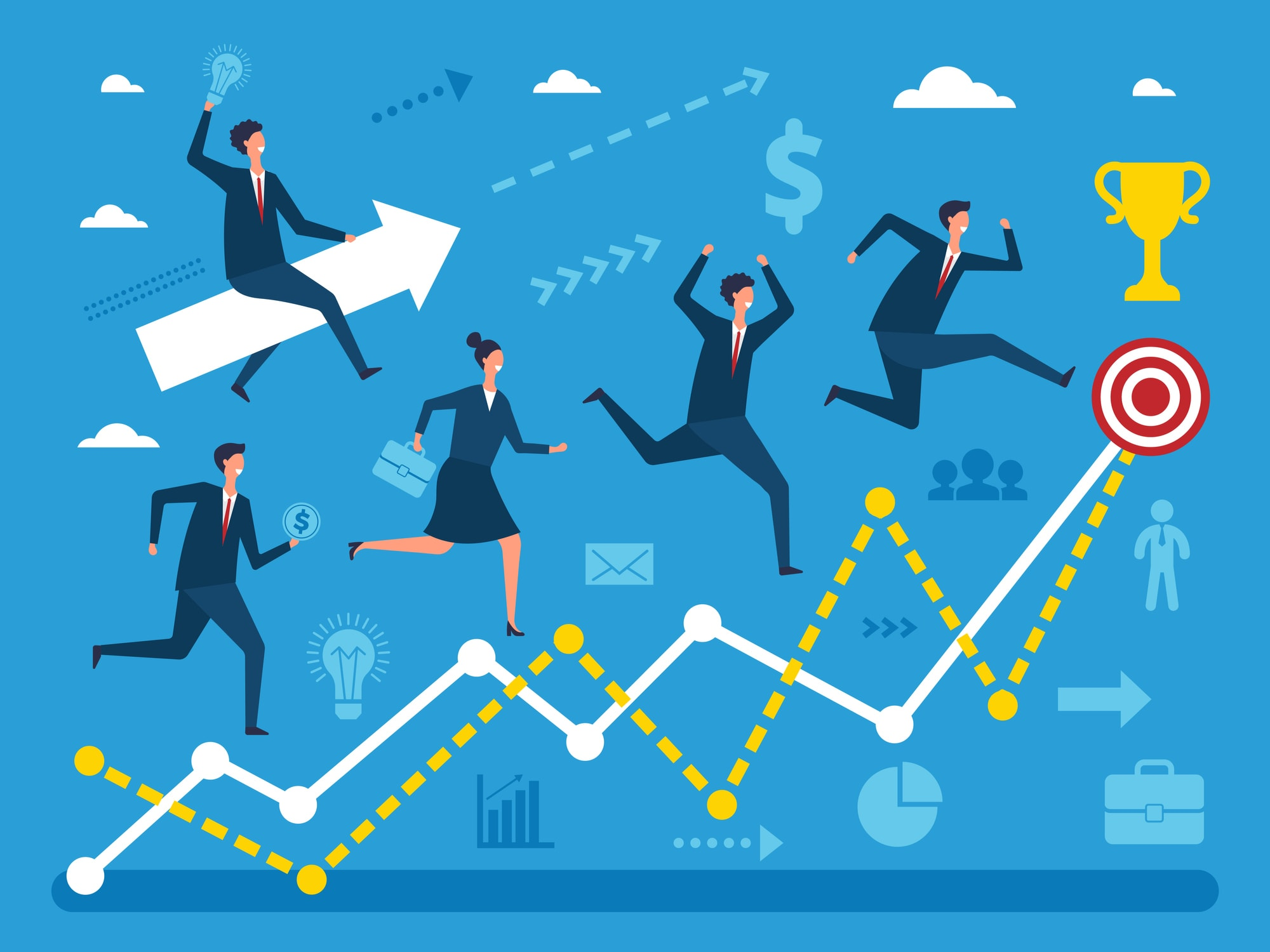 Business concept illustration of various peoples running to big goal. Visualizations of performance steps. Business goal, businessman success run