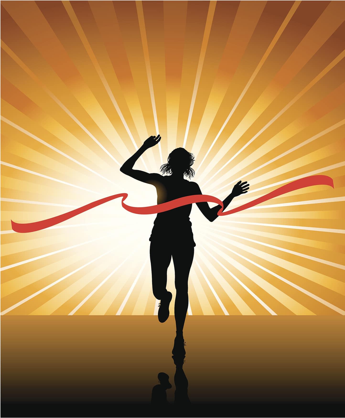 Woman winning a race