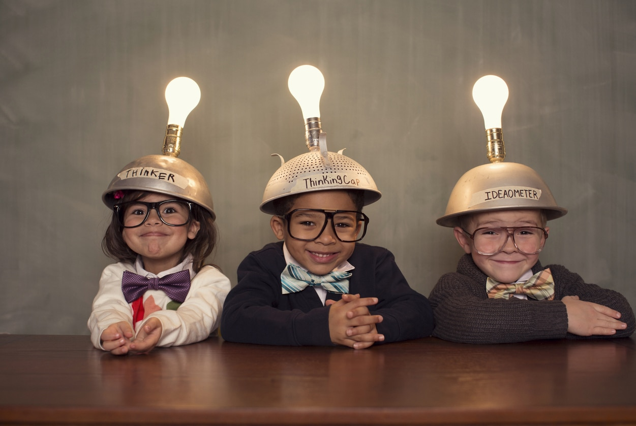 Students Wearing Lighted Mind Reading Helmets