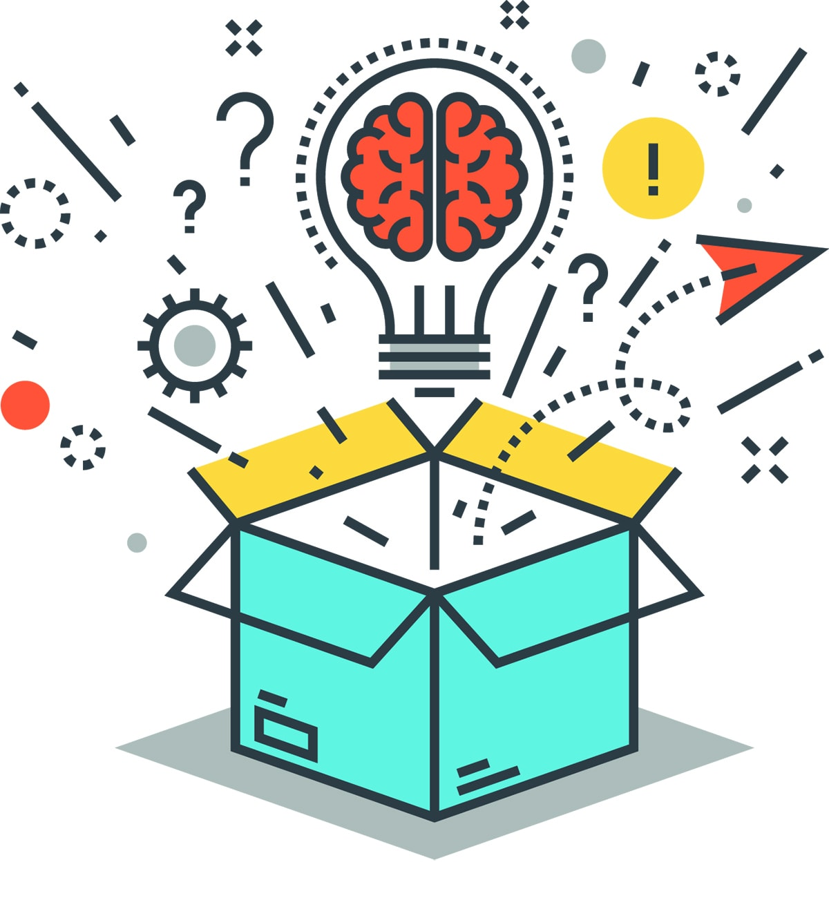 whimsical illustration of a lightbulb with a brain in it popping out of a box