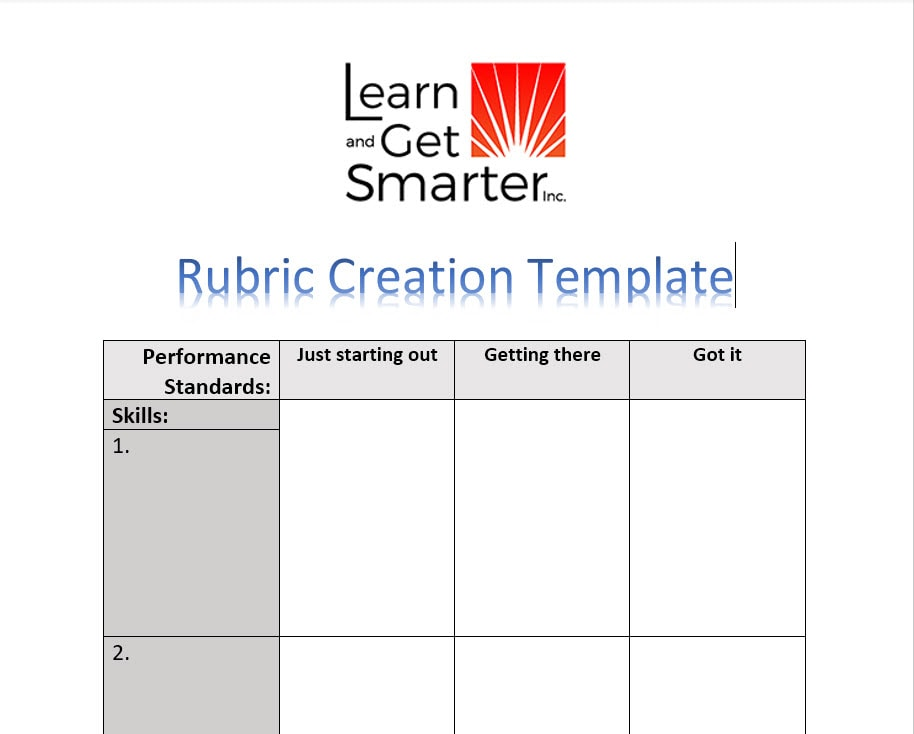 rubric creation template screenshot