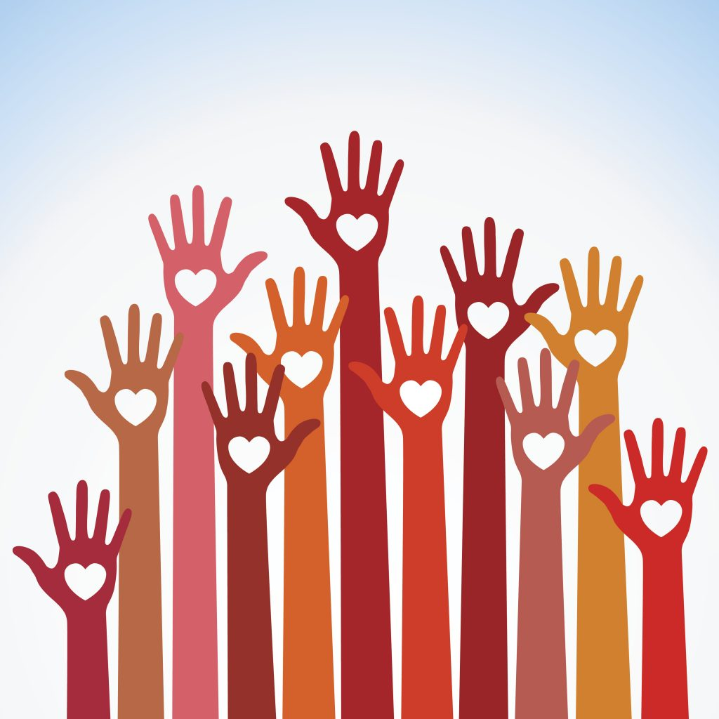 Illustration of hands raised in the air enthusiastically
