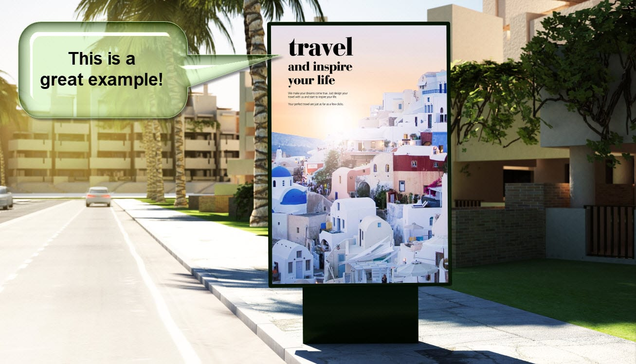 "sign that says ""travel--and inspire your life"" in a clear frame that separates it from the background"