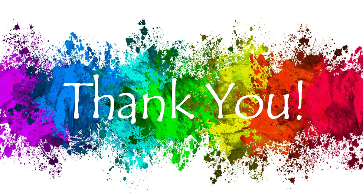 "colorful paintsplash background with the words ""Thanks you!"""