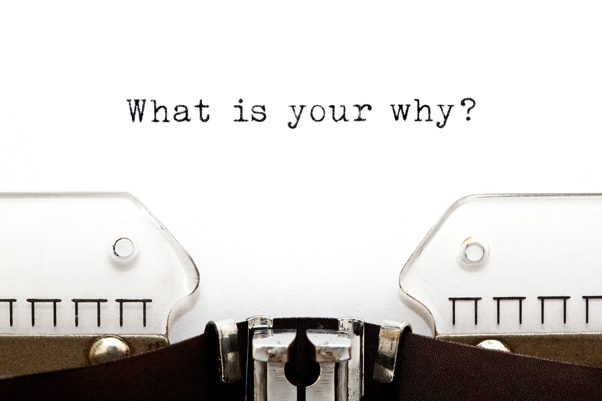 Existential question What Is Your Why typed on vintage typewriter with copy space.