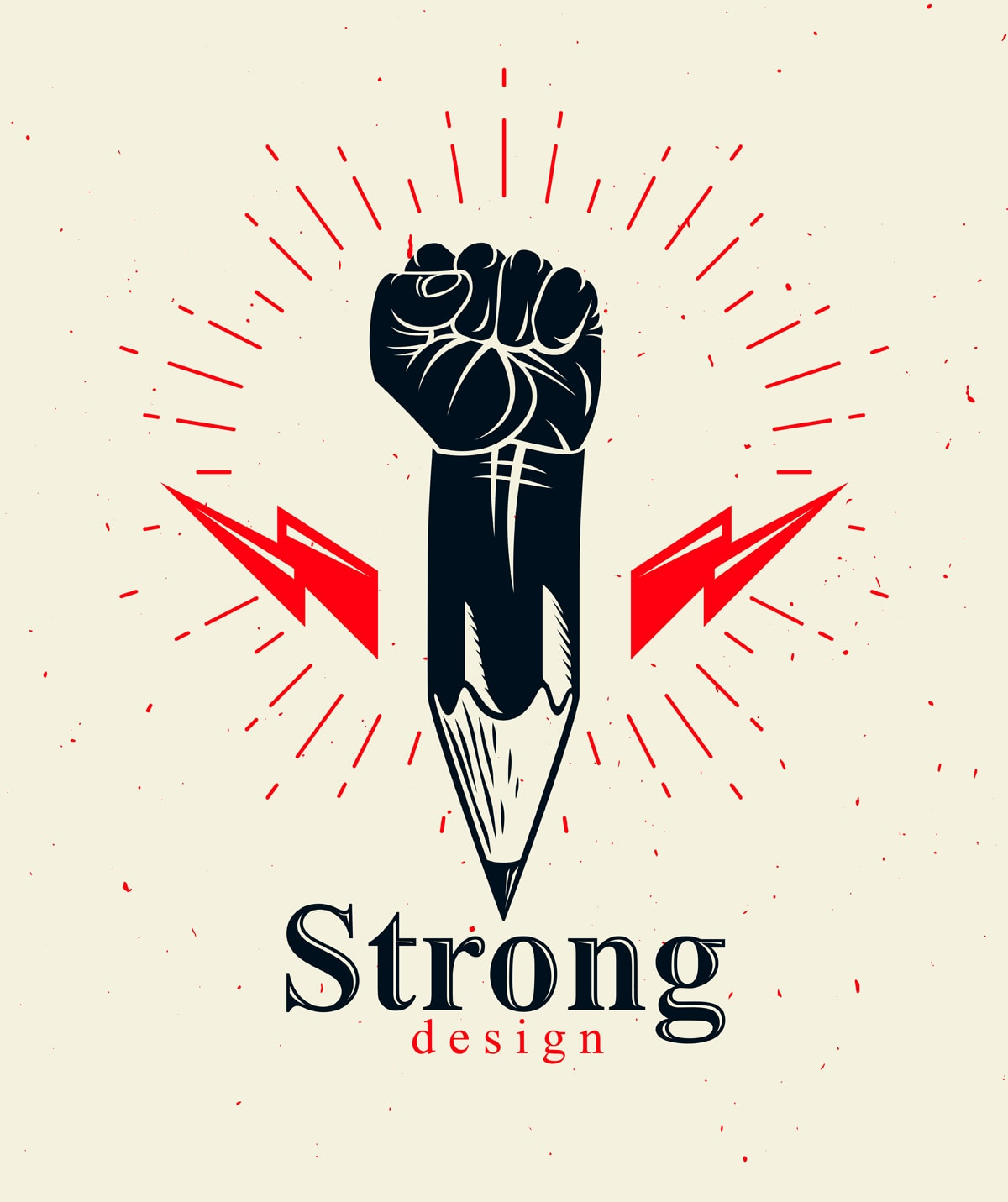"illustration showing a pencil with a fist growing out of the top of it, and lightning flashes coming out of the sides. The words ""Strong Design"" appear under the pencil/fist."""