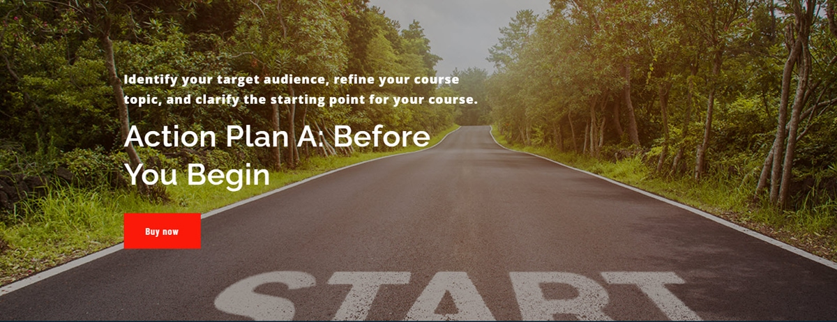 Course landing page screenshot from Action Plan A: Before You Begin