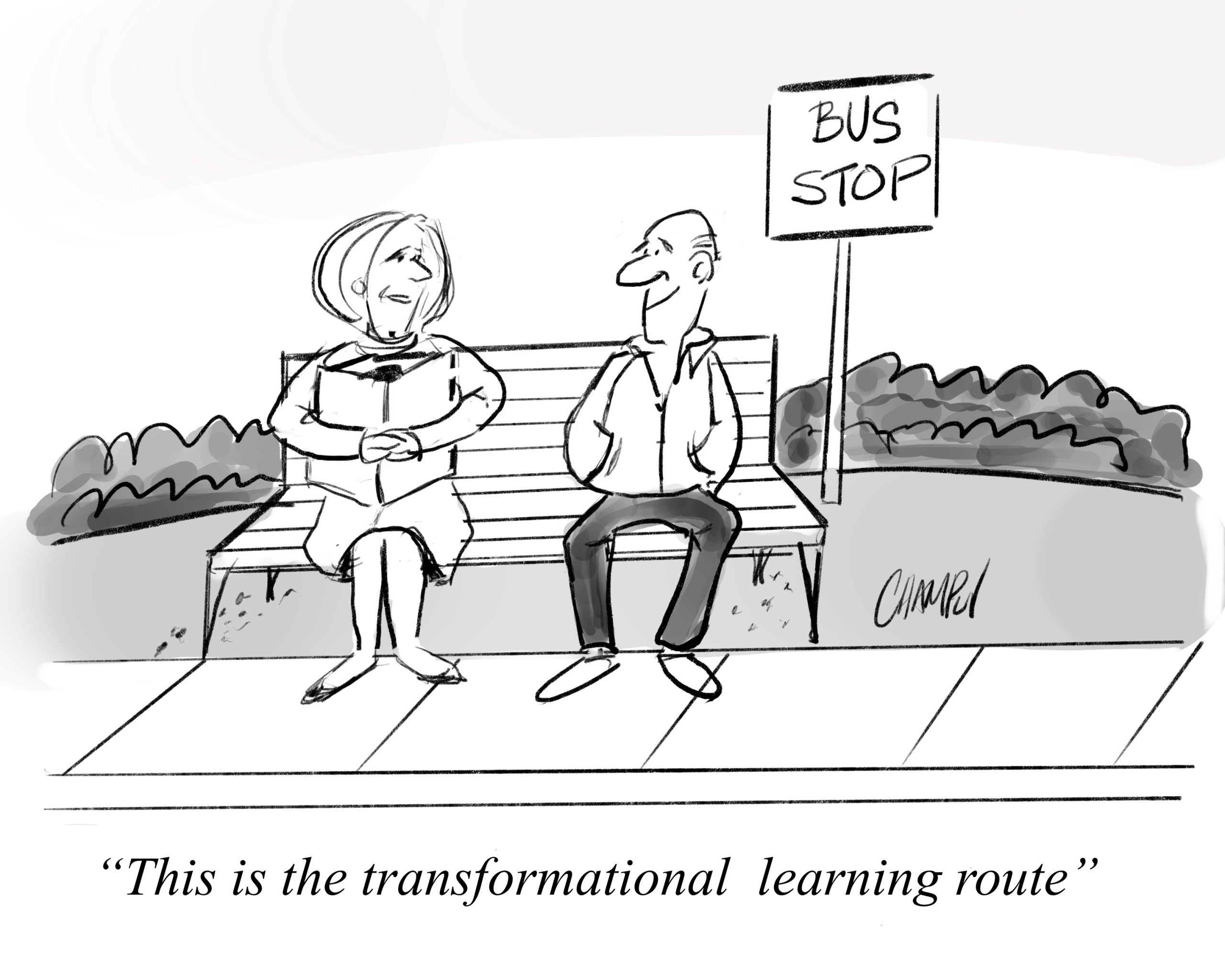 "cartoon showing people sitting at a bus stop. One of the waiting passengers explains to the other, ""This is the transformational learning route. """