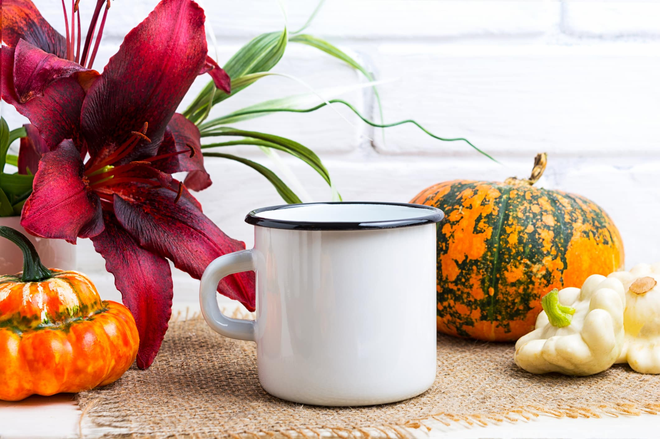 mug with autumn squashes