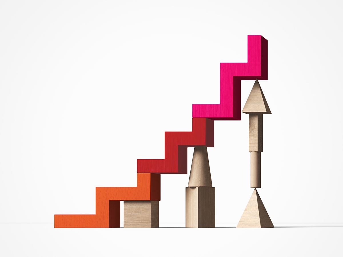 staircase of wooden blocks upheld by various types of supports