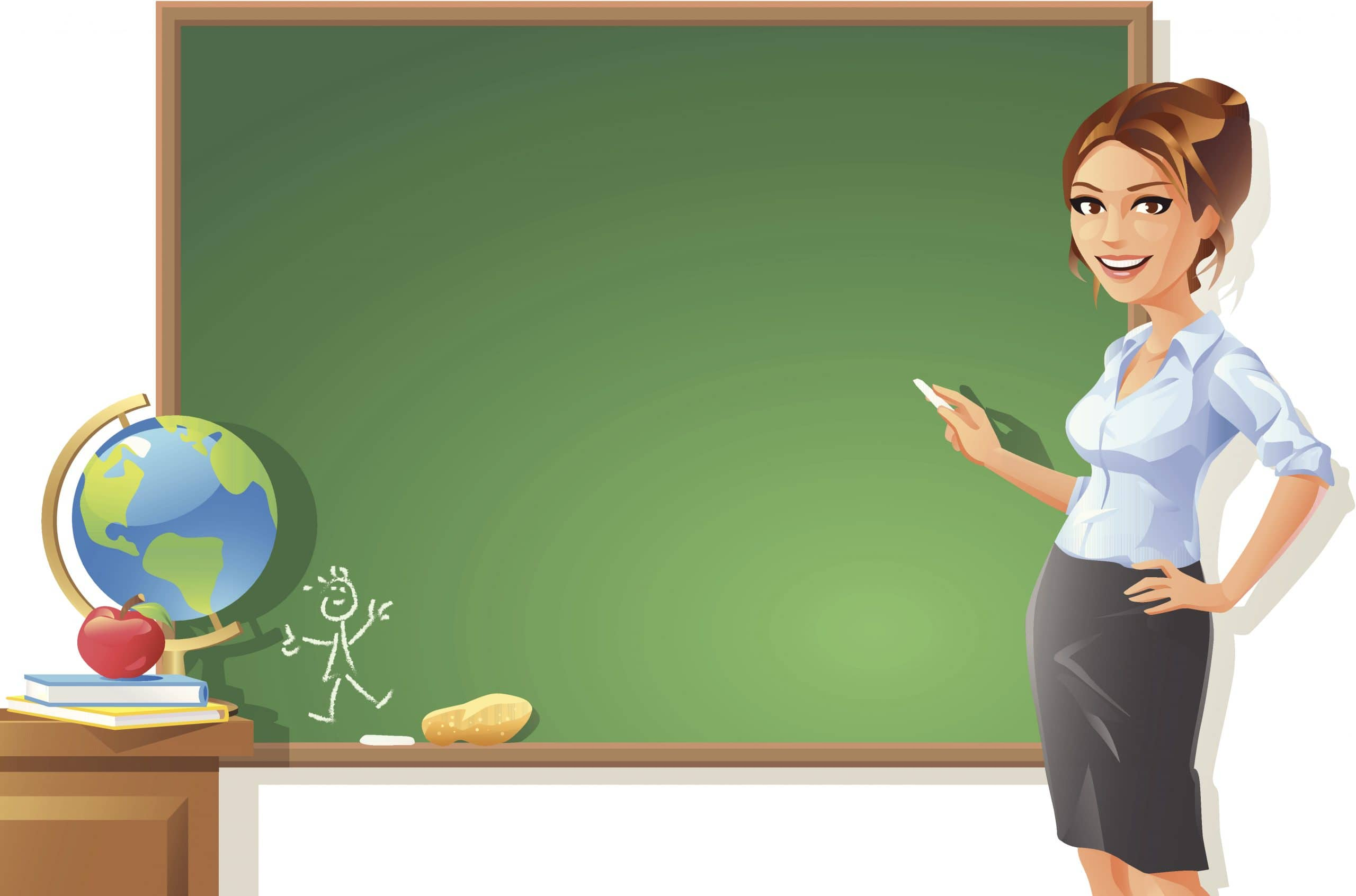 Female Teacher at Blackboard