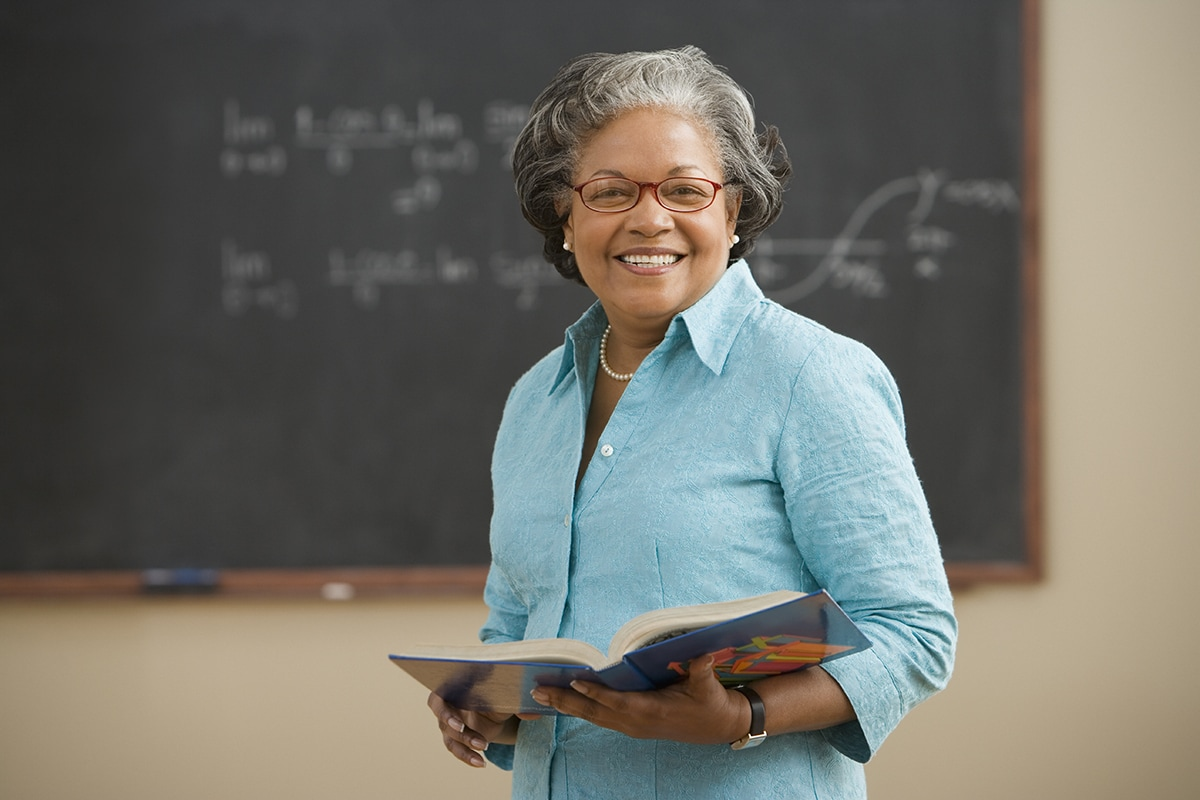 Female professor in classroom