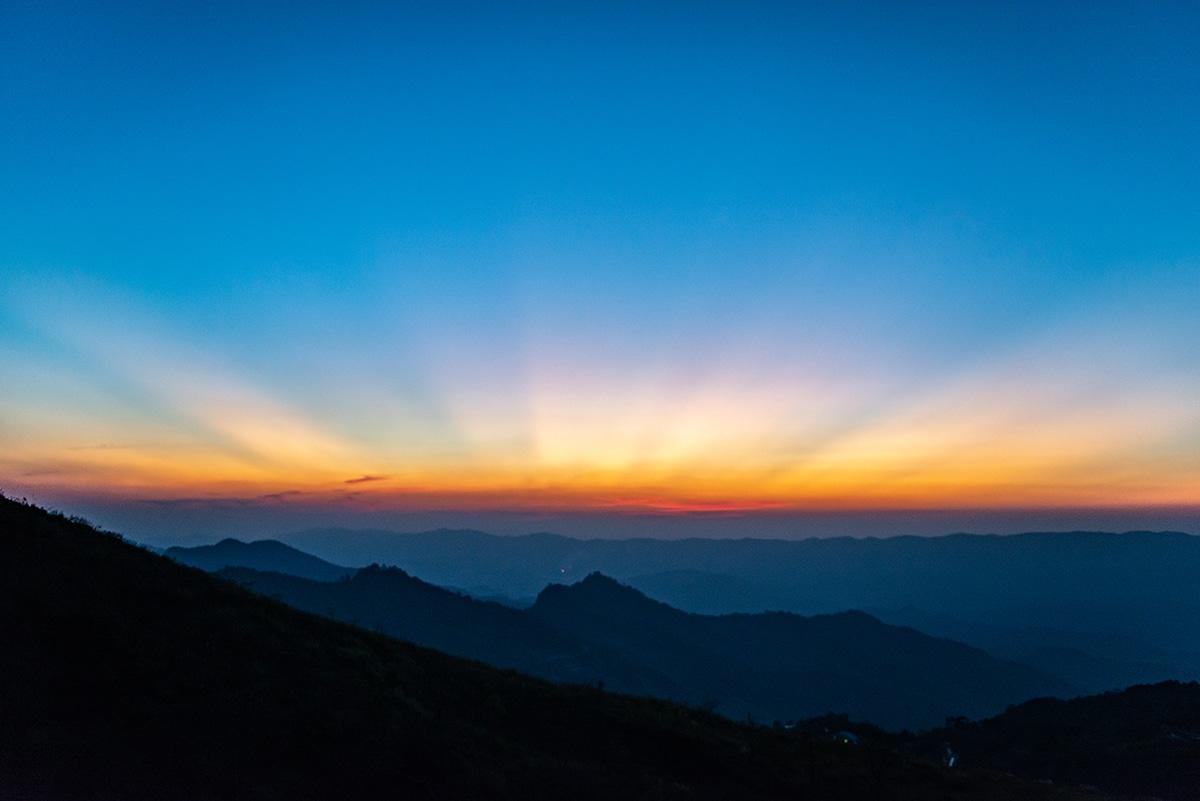 beautiful sunset sky with glowing horizon