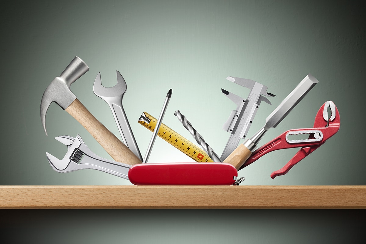 Swiss universal knife with tools on shelf