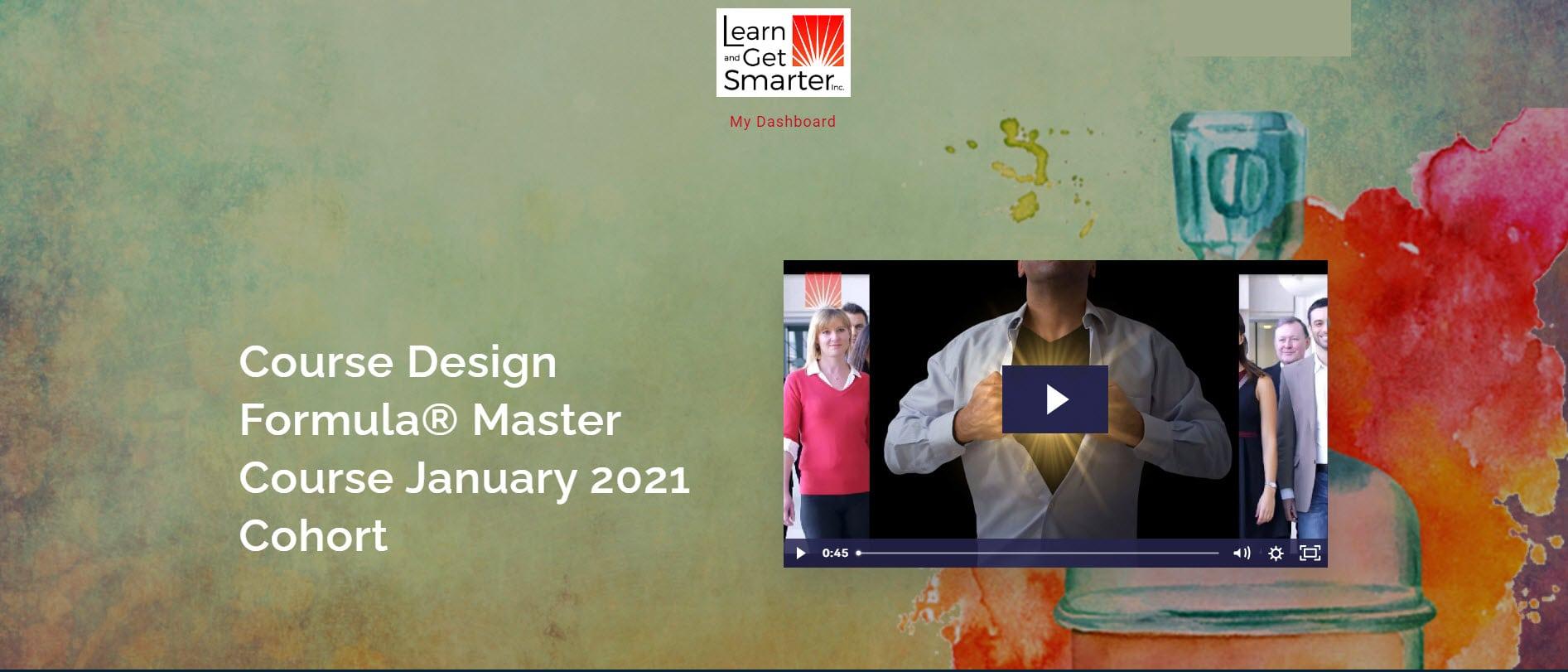 Course Design Formula® Master Course landing page screenshot