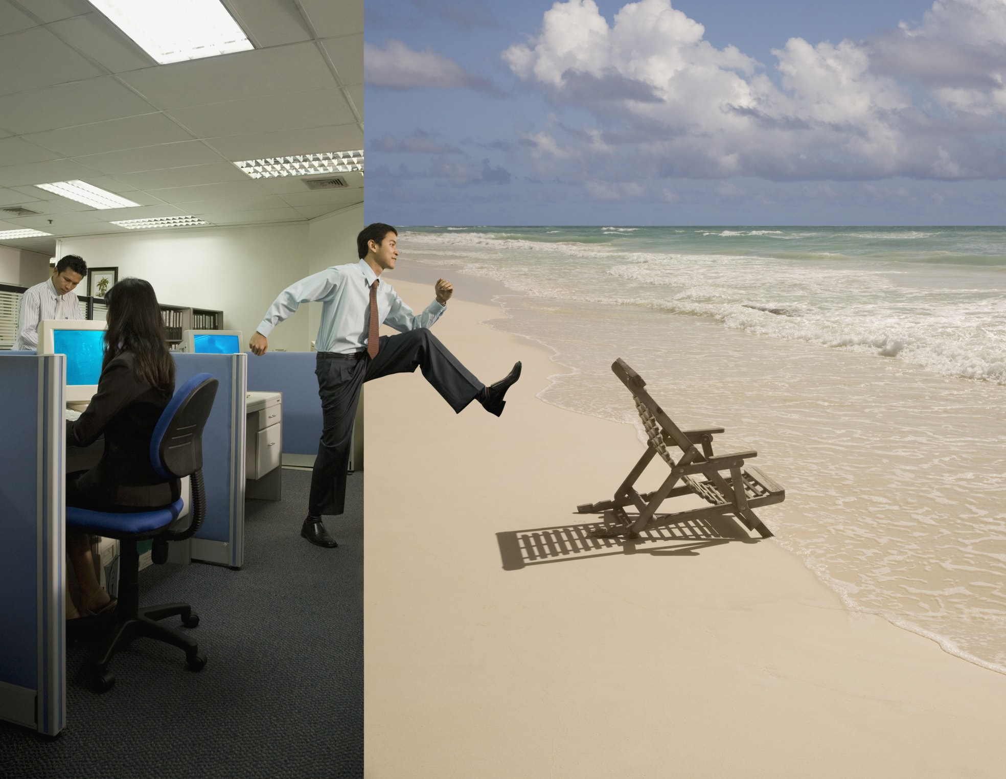 Asian businessman stepping from office to beach