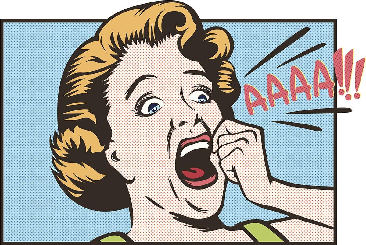 "cartoon woman screaming ""aaaah!"""