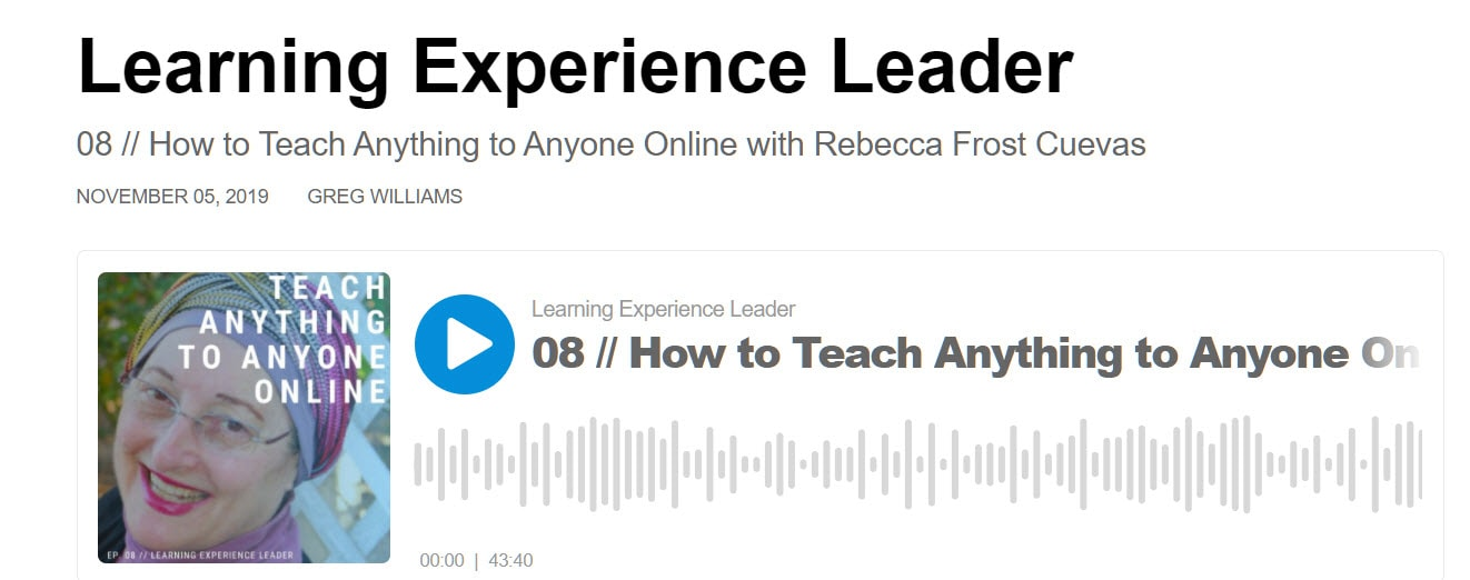 Gregg Williams interviewing Rebecca Cuevas on the Learning Experience Leader Podcast on Buzzsprout